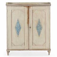 Swedish Neoclassical White & Blue Painted Cupboard circa 1840