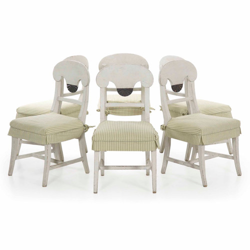 Set of Six Swedish Gustavian Style Dining Chairs, 20th Century