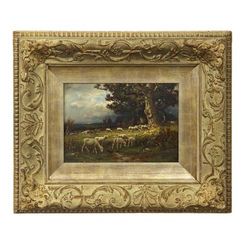 Sheep at Pasture, oil on panel | John Carleton Wiggins (American, 1848-1932)