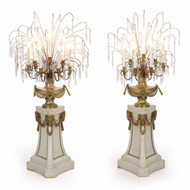 Pair of French Louis XVI Style Marble Pedestal Torchiere