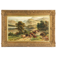 "William Langley (British, 1852-1922) ""Loch Achray"" Signed Antique Oil Painting"