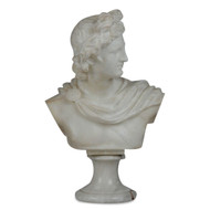"Italian White Marble or Alabaster Antique Bust ""Apollo Crowning Himself"", Sculpture"