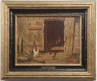 Burr Nicholls (American, 1848-1915) Antique Oil Painting, Chickens by Barn