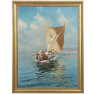 Fausto Giusto, possibly Eugene Galien-Laloue, Fine French Painting Seascape
