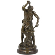 "Adrien-Etienne Gaudez (French, 1845-1902), ""Forgeron Antique Bronze Sculpture"