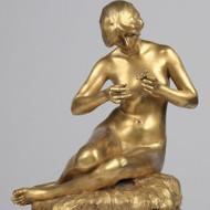 "Alexandre Clerget (France, 1856-1931) ""Consultation"" Gilt Bronze Sculpture c1900"