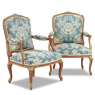 Fine Pair of French Gilt and Polychromed Fauteuils, Late 19th Century