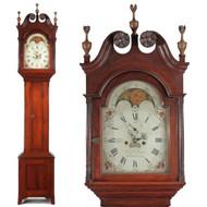 American Federal Tall Case Clock, Bucks County Pennsylvania, Benjamin Morris