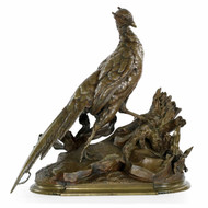 "Jules Moigniez (French, 1835-1894) Sculpture of ""Pheasant & Stoat"""