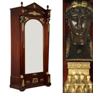 Exceptional French Empire Gilt Bronze Mahogany Antique Armoire c. 1880-1910