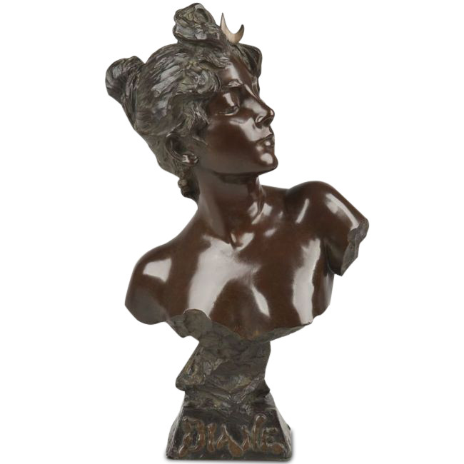 emmanuel villanis french fl 1880 1920 art nouveau bronze sculpture diane. Black Bedroom Furniture Sets. Home Design Ideas