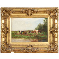 Adrianus Groenewegen (Dutch, 1832-1963) Fine Antique Painting, Cows at Pasture