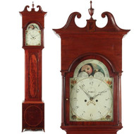 Fine American Federal Inlaid Mahogany Tall Case Clock, Maryland c. 1795-1810