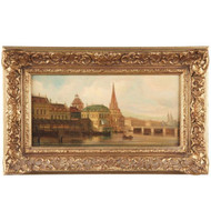 August Siegert (German, 1786-1869) Antique Oil Painting View of City