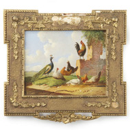 Albertus Verhoesen (Dutch, 1806-1881) Antique Painting of Chickens Farm c. 1869