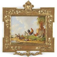 Albertus Verhoesen (Dutch, 1806-1881) Antique Painting Barnyard Scene c. 1869