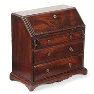 Fine English Georgian Style Miniature Antique Desk, Mahogany, 19th Century, Rare
