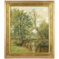 """Oliver Parker Black (American, 1868-1948) Antique Painting """"Early Spring"""""""
