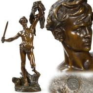 Alfred-Desire Lanson (French, 1851-98) Bronze Sculpture Jason w/ Golden Fleece