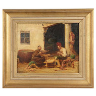 After Jehan Vibert (French, 1840-1902) Original Antique Oil Painting Monk Signed