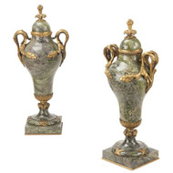 Exceptional Pair of French Empire Marble & Bronze Cassolettes Urns by Thiebault