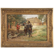 "Julien Le Blant (French, 1841-1936) Antique Painting ""Soldiers Delivering News"""