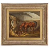 British School Antique Equestrian Oil Painting on Canvas