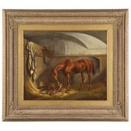 British School Antique Equestrian Oil Painting on Canvas