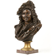 "Albert Carrier-Belleuse (French, 1824-87) Bronze Bust Sculpture ""Rembrandt"""