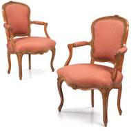 Fine Pair of Louis XV Period Antique Fauteuil Arm Chairs by Sené c. 1760
