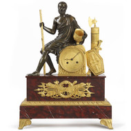 French Empire Ormolu and Patinated Bronze Mantel Clock c. 1815