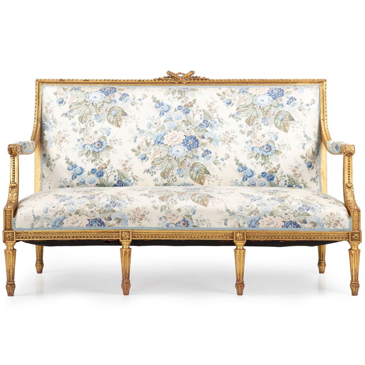 French Louis Xvi Carved Giltwood Antique Settee C 1900