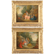 French School (18th Century) Pair of Antique Courting Scene Paintings