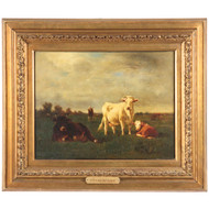 "Emil van Marcke (French, 1827-90) ""In Green Pastures"" Antique Cow Painting"
