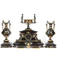 Rare Egyptian Revival Antique Clock Garniture Set, Tiffany & Co c. 1880