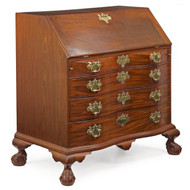 American Chippendale Oxbow Slant Front Desk, Boston c. 1760