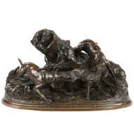 Pierre Jules Mene (French, 1810-79) Bronze Sculpture Group of Hounds with Fox