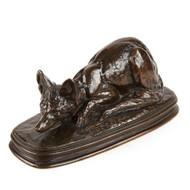 Emmanuel Fremiet (French, 1824-1910) Antique Bronze Sculpture of Fox