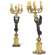 Pair of French Empire Style Antique Candelabra, 19th Century