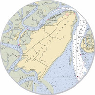 """This sticker shows the Daufuskie area. Show your pride for your home town with this one. Great on your car, truck, golf cart, beach cart, cooler, etc. The possibilities are endless. 3"""" circle"""