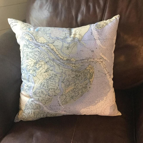 Nautical Chart Pillow showing Tybee Island and Savannah area