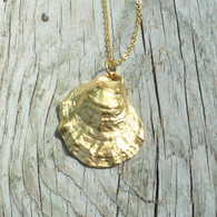Long Gold Oyster Necklace