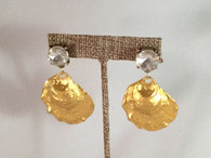 Gold Oyster and Diamond Statement Earrings