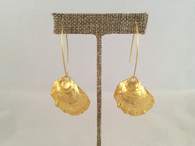 Gold Oyster Earrings on Wires