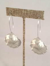 Silver Oyster Earrings on Wires