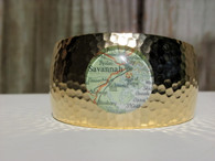 Gold plated hammered nautical cuff bracelet featuring Savannah and surrounding coastal areas.