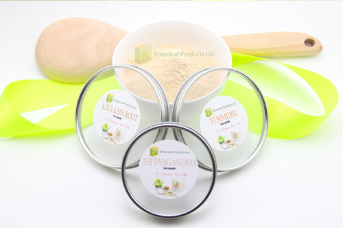 Now you can enjoy tremendous value with this unbeatable combination of health-promoting Fine Root Powders! The Botanical Fine Powder Trio comes loaded with 100G of Organic Ashwagandha Root, 50G of Organic Fiji Kava Kava Root, and 100G of Organic Turmeric Root fine powders. Each one of our amazing products is rigorously scrutinized for imperfections and only the finest make it to our clients.  It is a very, very selective process from the beginning that sets Botanical Products Ashwagandha, Kava Kava, and Turmeric apart from our competition.  Our mantra is to challenge and be challenged to always have not only the highest standards but also the highest quality for our clients. It is the tireless dedication and endless process to ensure all of our products stay true to the Botanical Products Inc. highest standards at all time.  100G Organic Ashwagandha Root Powder  Ashwagandha Root Powder is well known around the world for its amazing healing and health properties.    50G Organic Fiji Kava Kava Root Powder  Botanical Products Inc. Strived to find an Organic Kava Kava Root Powder that continues to hold true to the original standards of perfection our clients have become accustomed to from Botanical Products Inc. for many years. We took the best that exists and challenged our amazing team to even find better. Our all new Kava Kava Root will truly impress even the most experienced Kava lovers.   100G Organic Turmeric Root Powder  An iconic herb like Turmeric cannot be reinvented, it can only be challenged. The challenge was to source out a 100% Certified Organic Turmeric with the same high quality our clients have become accustomed to with Botanical Products Inc. Our amazing team not only met, but exceeded this challenge. Botanical Products Inc. 100% Organic Turmeric is sure to exceed your every exception from the moment you place your order to the second your package arrives.