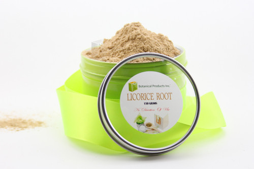 Organic Licorice Root Powder 150G You save: $8.80  Botanical Products Inc Organic Licorice Root Powder is sure to impress from the moment you open your package. We listen to our clients needs and wants and brought only the finest Organic Licorice Root Powder to the market. Our relationships with our clients is a key conpunment in not only developing but also bring only the finest in quality to the botanical market. The highest in quality is  sets out in the principles that underpin our values and the way we do business. Our Organic Licorice Root Powder stayed true to our core value on how important quality is.  When nature provides such a marvellous botanical it must be done in the manner to ensure the core value of the product must not be compromised. Licorice Root Powder is one of those amazing botanicals that even still baffles leading scientist on its core properties.