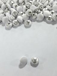 1 Dozen Shank Back Satin Buttons in White