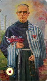 St. Maximilian Kolbe prayer card with 3rd Class Relic